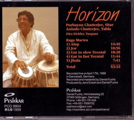 CD Cover Purbayan Chatterjee, Horizon (back)